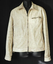 A/X Armani Exchange Distressed Leather Rare Jacket Tan/Beige Full Zip Size M