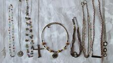 VARIETY LOT 10 B Un/ Signed Glass bead Necklace gold/silver tone figural AEO