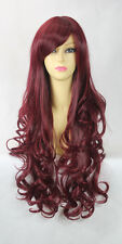 OUJF66  New Heat Resistant Long Red Brown mix Curly Cosplay Wig