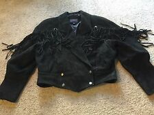 Women's size M Medium g4000 brand black motorcycle leather/suede jacket fringe