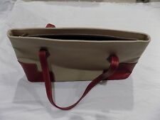 BCBG MAX AZRIA Hand Bag, Tan Canvas with Red Leather Corners and Straps