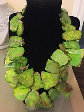 NWOT Jasper Lime Green Cluster Stone Slab Statement Bib Necklace