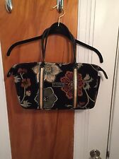 Longchamp black blue green brown rust gold velvet cotton tote shoulder bag purse