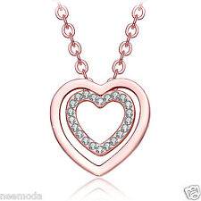 Mother's Day Gifts NEEMODA 18K Rose Gold Plated Crystal Heart Pendant Necklace