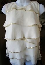 Michael Kors Ivory Gold Sequined Ruffle Tiered Silk Sleeveless Blouse Sz L