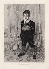 """Cute 1800s William ORCHARDSON Antique Etching """"Little Soldier Boy"""" SIGNED COA"""