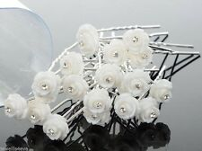 White Rose Crystal Small Hair Pins Grip Party,Wedding,Prom,Bridal,Bridesmaid x15