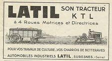 W6211 LATIL son Tracteur KTL à 4 Roues Motrices - Pubblicità 1934 - Advertising