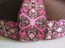 Woven Jacquard Scroll Ribbon Pink Brown 1.5 in 3 YRDs