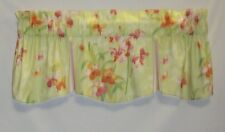Curtain Valance Tent Flap Floral With Striped Buttons  Insert  Lined  Topper