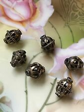 Antique Yemenite Silver Filigree Dome Beads 15 mm x 12 mm - JewelryPieces/Crafts