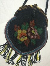 Vintage Antique Micro Glass Micro Beaded Evening Bag Purse 1920's Flapper Floral