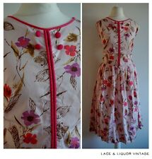 LOVELY vtg 1960s PINK FLORAL UNION MADE 1950s COTTON SLEEVELESS DAY DRESS 16 18
