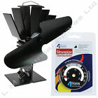 Black Heat Powered Stove Fan Wood Burner + Magnetic Stove Temp Gauge Thermometer