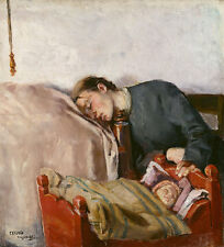 Mother and Child Christian Krohg Mutter Baby Wiege schlafen Eltern B A3 01159