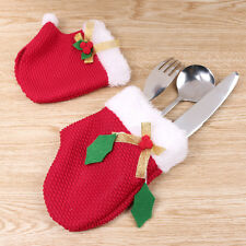Christmas Red Gloves Xmas Tableware Dinner Cutlery Pouch Pocket 8pcs/set