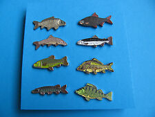 Set of 8, Different Fish pin badges, Enamel. Coarse Fishing interest.