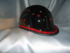 Bling Motorcycle Helmet made with Swarovski® Crystal Design  Black -VH16*