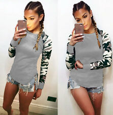UK Womens Fashion Casual Camouflage Tops Shirt Ladies T-shirt Long Sleeve Blouse