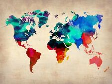 World Map in Watercolor Art Print - 32x24
