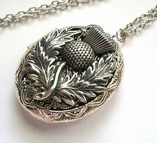 New - SCOTTISH THISTLE FLOWER Silver LOCKET Necklace Scotland Celtic Medieval