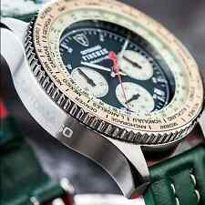 DETOMASO Firenze Racing Green Mens 42mm Chronograph Watch S-Steel 10 ATM New