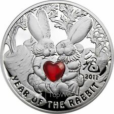 1$ Year of the Rabbit Proof Silver Coin Niue 2011 with Hart Shaped GLass Insert