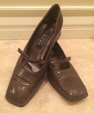 STUART WEITZMAN Iridescent Brown Leather Snake Print Mary Jane Shoe Womans 8.5M