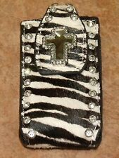 NOCONA ZEBRA WITH CROSS AND BLING CELL PHONE CASE