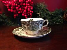 5 Wedgwood RALEIGH Green England Cup and Saucer Victorian Dinnerware 1890 RARE