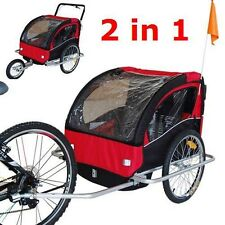 2 in 1 Double Child Baby Bike Trailer Bicycle Carrier Jogger Stroller Red/Black