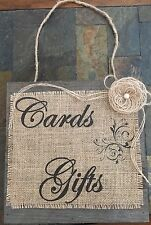 Primitive Barn Wood Burlap Sign Cards Gifts Flower Rustic Wedding Baby Shower