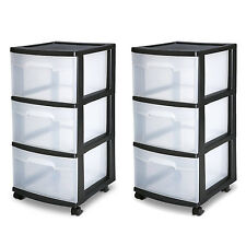 3 Drawer Organizer Cart Black Plastic Craft Storage Container Rolling Bin Set 2