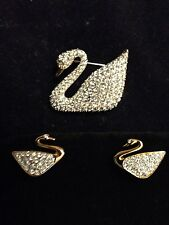 Swarovski Swan Pin Brooch & Earring Set Signed - BEAUTIFUL! - New