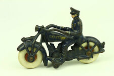 """Rare Antique Champion Hardware Cast Iron Police Man on Motorcycle Toy 7"""" Long"""