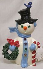 Vintage Christmas Figural Snowman Light w Wreath Candy Cane Bluebird on Hat 1970