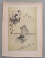 "LIGURIA, Savona.""Final Marina"". Veduta  marina. Litografia circa 1890"