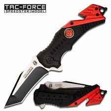 TAC FORCE Assisted Open Fire Fighter Black Red Tactical Rescue Pocket Knife NEW