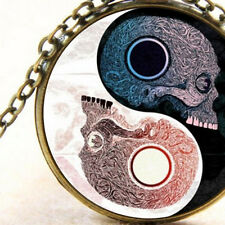 New Skull Heads, Yin Yang Glass Necklace Pendant, Ladies or Men's Gift Jewellery