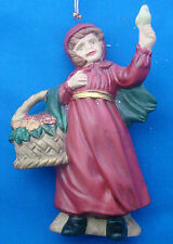 "Christmas ornament porcelain red riding hood girl with basket and bird 4¼"" tall"
