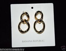 NWT Banana Republic Fashionable Chain Link Post Pierced Earrings Gold $45 NEW