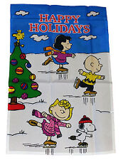 "PEANUTS SNOOPY HAPPY HOLIDAYS ICE SKATING WITH THE GANG FLAG~25""x38""~NEW"