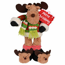 "16 "" Standing Plush Reindeer Xmas Decoration With Red Merry Christmas Sign"