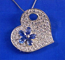 STERLING SILVER PAVE SET WHITE CZ & TANZANITE CZ FLOWER HEART PENDANT, 3.00CTS