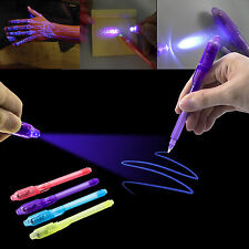 US-4pcs Secret Message Invisible Ink Pen with Built in UV Light Magic Marker