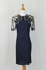 Vintage LAURENCE KAZAR Blue and Silver Beaded Sequined Dress 1930's 40's Deco 8