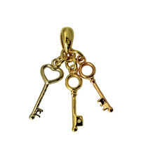14K Real Yellow Rose White 3 Tri-color Gold Small Key to My Heart Charm Pendant