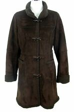 Talbots Coat Sz S Womens Brown Faux Suede Faux Shearling Fur Toggle Fall Winter