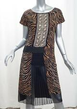 ALBERTA FERRETTI Womens Black+Brown Silk Animal Print Shift Dress 40/4 S NEW NWT