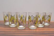 Gorgeous set of 6 leaf design mid century vintage 50s atomic era shot glasses
